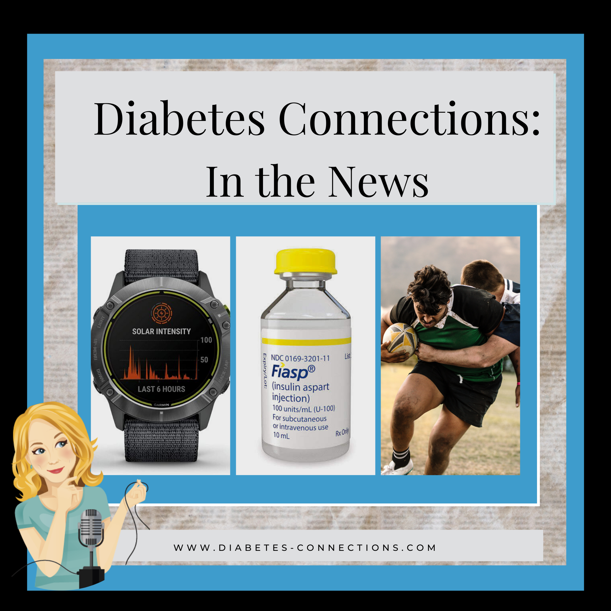 In the News logo with photos of Garmin Watch, insulin vial and rugby game