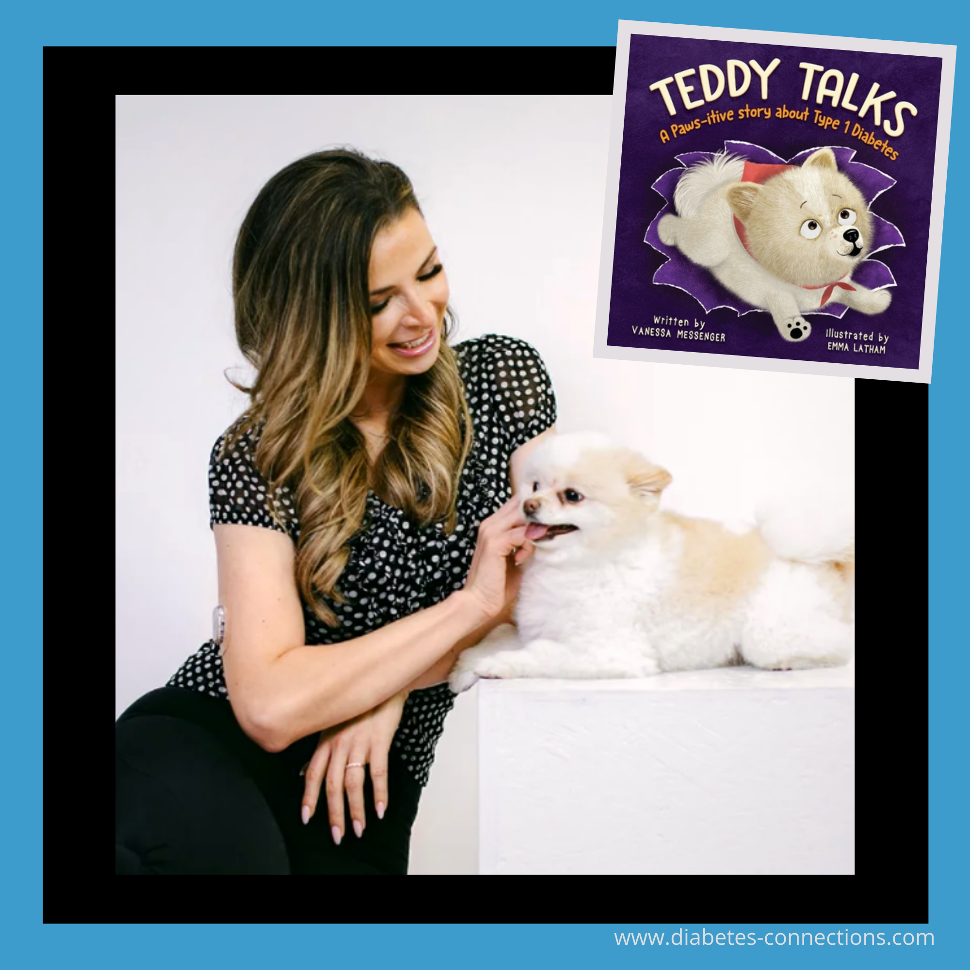 Vanessa Messenger, her dog and the cover of Teddy Talks book
